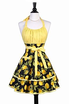 ab2dba453c Lucy Womens Sexy Apron in Black and Yellow Lemons - Perso... https: