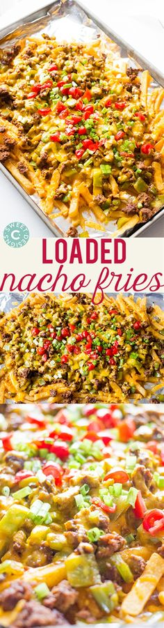 Ingredients: 1 lb bag frozen fries 1 lb ground beef 1 onion, diced 2 bell peppers, chopped taco seasoning packet small can jalapenos, drained * optional 1 1/