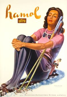 1940 Hamol ultra sun-cream, Switzerland vintage travel poster