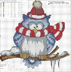 Owl with scarf and snowy branch cross stitch. murzilka1019 — «92685394_434.jpg» на Яндекс.Фотках. Owl with scarf