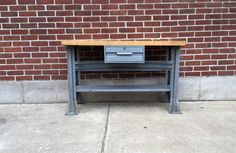 Antique Industrial WorkBench Desk Kitchen by TheAmericanCollector Industrial Workbench, Selling Antiques, Desk, Rustic, Wood, Kitchen, Vintage, Country Primitive, Desktop