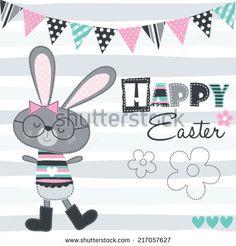 happy easter bunny vector illustration - stock vector