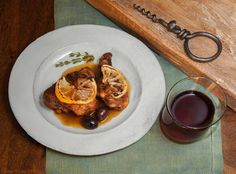 Braised Chicken with Olives & Preserved Lemons.  Home accessories from Il Buco Vita, NYC.
