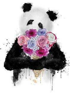 Ilustração, panda, flores, sorvete, watercolor, splatters, flowers