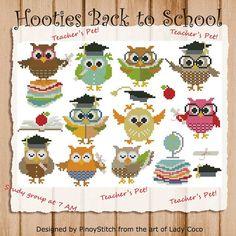 Hooties torna a scuola Mini collezione Cross Stitch Chart PDF