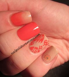 Orange and Nude skittle mani, who knew this color combination is so gorgeous!