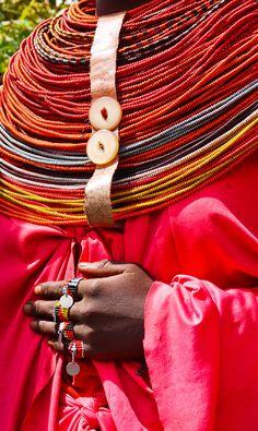 Africa | Detail from a Rendille woman.  Marsabit, Kenya | ©Rita Willaert