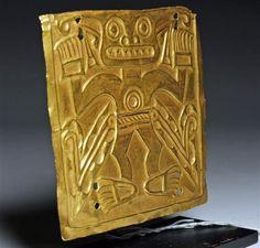 A Pre-Columbian Cocle Gold Plaque Zoomorphic Deity, Ca. 500-1000 CE