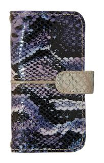 VANCOUVER  handmade luxury leather purple and black animal print  iphone case with gold strip and flap