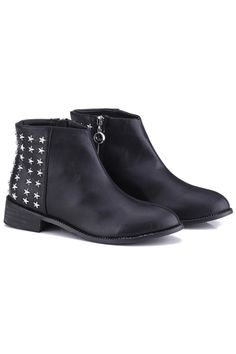 Zippered Five Stars Black Ankle Boots