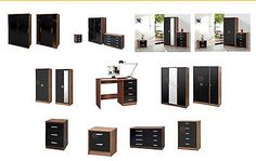 High gloss #black walnut bedroom furniture range set #wardrobe chest #bedside,  View more on the LINK: http://www.zeppy.io/product/gb/2/190784712260/