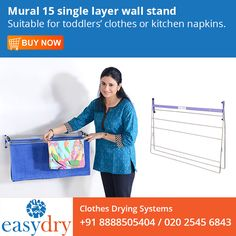 Mural 15 single layer Wall Stand from Easy Dry Systems saves valuable floor space & has simple, sturdy locking and wall mount design. Shop from our online store Wall Mounted Clothes Dryer, Clothes Stand, Clothes Drying Racks, Floor Space, Layers, Space Saver, Design Shop, Store, Easy