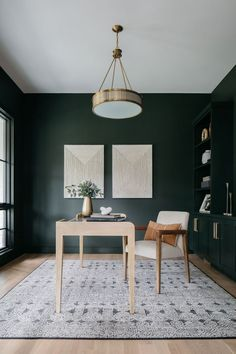 Guest Room Office, Office Walls, Home Office Design, Home Office Decor, Home Decor, Dark Green Rooms, Light Green Walls, Black Walls, Green Home Offices