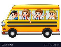 Happy school kids riding a school bus Royalty Free Vector School Bus Clipart, Cartoon School Bus, Bus Cartoon, School Classroom, School Kids, Dinosaur Images, School Murals, Islam For Kids, Murals For Kids