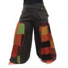 Aladin pantalones de patchwork con algodón elástico