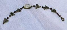 Antique Brass Bracelet with Shell Inlaid Focal Bead   AmeliaOriginals - Jewelry on ArtFire