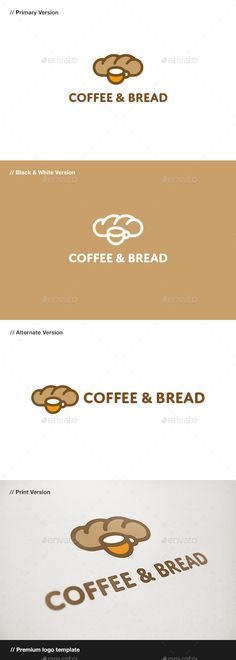Coffee & Bread Logo: Food Logo Design Template by domibit. Dessert Logo, Logo Café, Cafe Logo, Bakery Branding, Bakery Logo Design, Logo Branding, Branding Design, Pudding In A Mug, Gelato