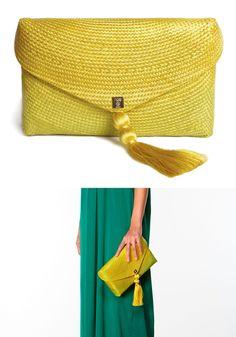 Hoss Intropia - Spring-Summer 2014 / Straw degradé clutch - yellow