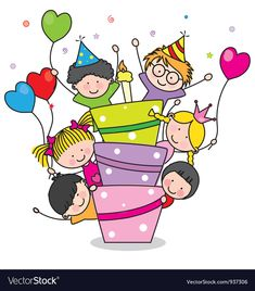 Children with a cake Royalty Free Vector Image Happy Birthday Messages, Happy Birthday Images, Birthday Wishes, Birthday Cards, Birthday Celebration, Art Drawings For Kids, Drawing For Kids, Art For Kids, Cartoon Pics