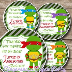 Ninja Turtle Birthday Party Favor Tag Mutant by GingersnapsParty, $6.50