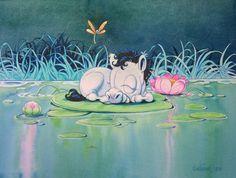 Lille Mulle på Näckrosblad via Mulleshoppen - Lena Furberg illustration