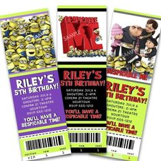 Despicable Me Birthday Party Ticket Invitation - Printable File | PixelberryParties - Digital Art  on ArtFire