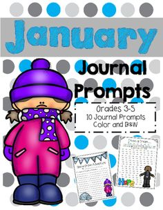 In this product are 10 journal prompts for students in 3rd, 4th, and 5th grades.  These make great bulletin boards or hallway decorations.  Use all 10 or choose one to write each week.  The download includes both colored and black and white handouts.