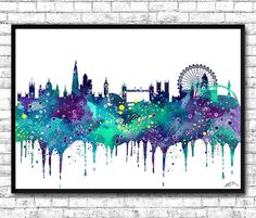 London Watercolor Print Blue/Purple City Skyline by ArtsPrint