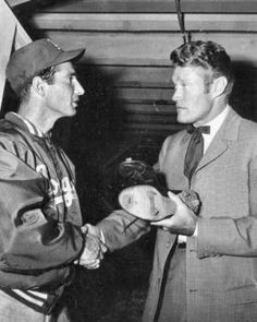 How many know that Chuck Connors started out playing with the Dodgers? - Chuck Connors (The Rifleman) and Sandy Koufax Dodgers, Don Drysdale, Chuck Connors, Johnny Crawford, Sandy Koufax, Polo Grounds, The Mick, The Rifleman, Dodger Blue