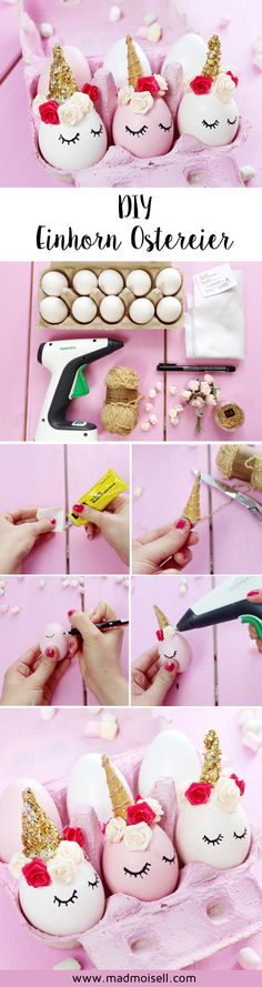 DIY unicorn making Easter eggs yourself: Unicorns are very trendy right now, why not make unicorn Easter decorations yourself? I tried this DIY and love these cute unicorn Easter eggs! Easter Crafts, Holiday Crafts, Holiday Fun, Unicorn Birthday Parties, Unicorn Party, Hoppy Easter, Easter Bunny, Diy For Kids, Crafts For Kids