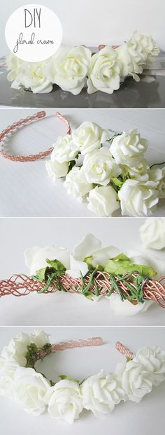 DIY Floral Crown. You Need: •A headband •Fake flowers on wire. Position your first flower in the middle of your headband. Then once in position simply begin to tightly wrap the wire stem of your flower around the band, making sure that the flower head is nice and secure. Continue using this method for all your flowers until you've covered your headband or until you reach your desired amount of coverage.