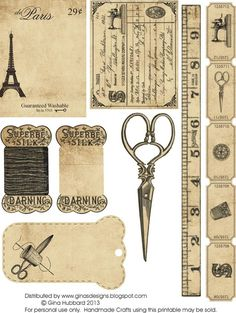 vintage signs, scissors, measuring tape, ruler, needle, sewing