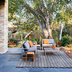 Wood Deck with Orange Accents - Amp up a Natural Setting - Sunset Mobile