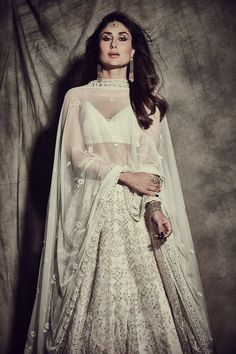Kareena Kapoor in a beautiful White Anita Dongre Lehenga Picture: Anita Dongre website Indian Bridal Wear, Indian Wedding Outfits, Bridal Outfits, Indian Outfits, Indian Wear, Indian Dresses, Indian Clothes, Wedding Dress, Wedding Wear