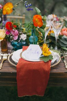 bohemian wedding place setting - photo by Alexandra Wallace http://ruffledblog.com/bohemian-garden-wedding-with-color
