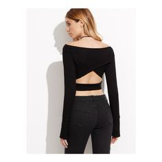 SheIn(sheinside) Black Cutout Back Crop T-shirt With Fingerless Glove... (£11) ❤ liked on Polyvore featuring tops, t-shirts, black, stretch t shirt, long-sleeve crop tops, long sleeve crop top, boat neck tee and long sleeve tees