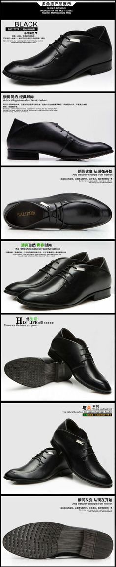 Black Men elevator dress shoes make you taller 8cm / 3.15inches business height increasing shoes