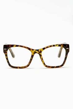 Super awesome tortoise glasses featuring a square shaped eye and silver hardware.