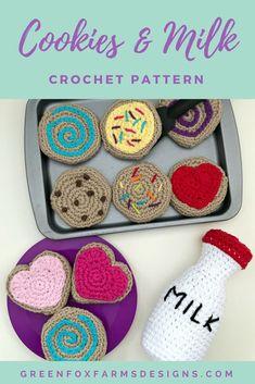 cookies and milk crochet pattern - Play food pattern - crochet pattern - cute kids crochet pattern - amigurumi pattern - www.greenfoxfarmsdesigns.com
