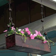 A beautiful hanging trough planter with a gorgeous finish.
