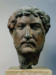 """Hadrian, AD Roman Emperor, Bronze Head, from Egypt"" He not only ruled his empire, he also expanded it. Mine has been so horribly reduced. What did I do wrong? Roman Artifacts, Ancient Artifacts, Roman Sculpture, Sculpture Art, Roman History, Art History, Ancient Rome, Ancient History, Art Romain"