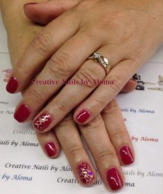Bio Sculoture Gel - Cerise with stamping and glitter hexes.