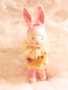 Spun cotton Easter ornament Girl in a pink bunny suit costume OOAK vintage craft by jejeMae
