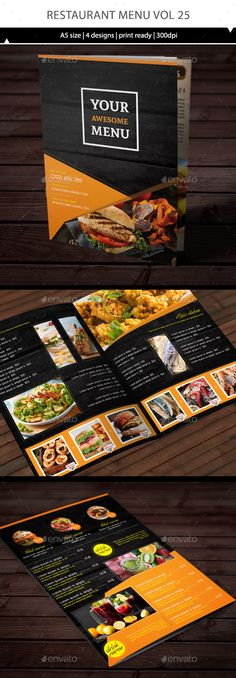 Restaurant Menu Vol 25 by TuanCFS Restaurant design.- 4 page for menu template size) - The design all have bleed, so it ready to print. Menu Restaurant Design, Resturant Menu, Hotel Menu, Restaurant Menu Template, Menue Design, Menu Card Design, Food Menu Design, Flyer Design, Stationary Design