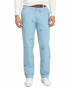 Clark Fit Four-Panel Embroidered Pants - Brooks Brothers