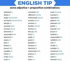 English Tip: some adjective + preposition combinations English Prepositions, English Verbs, English Phrases, English Writing, English Study, Learn English, English Literature, English Tips, English Lessons