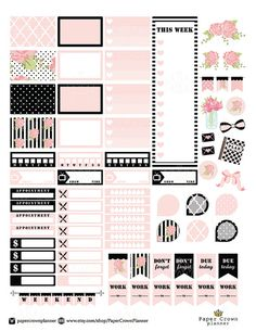 Black and Blush Printable Planner Stickers for use with Erin