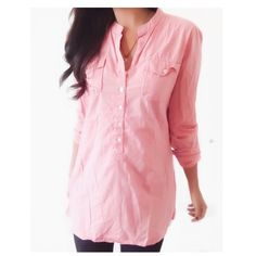 "Calvin Klein Pink Button Down Tunic Top This pink top has a front that buttons down to the stomach & it fits longer like a tunic. It's a nice top for pairing with boots, leggings & a decorative scarf. {actual color of item may vary slightly from photos}  •shoulders:17"" •chest:20.5"" •waist:19""w •length:29.5"" •sleeve:25""  Material:100% cotton ️machine wash  Fit:could work for med/fabric also has give  Condition:no rips no stains  ❌no holds ❌no trades ♥️️bundles of 3/more items get 20% off…"