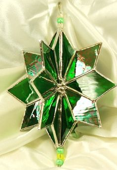 Handmade 3D Stained Glass Green Twirling Star by glassnwood, $25.00