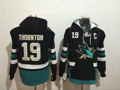 Sharks 19 Joe Thornton Black All Stitched Hooded Sweatshirt 62b30f670